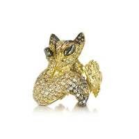 Bernard Delettrez Designer Rings Gold and Cognac Diamonds Fox Ring