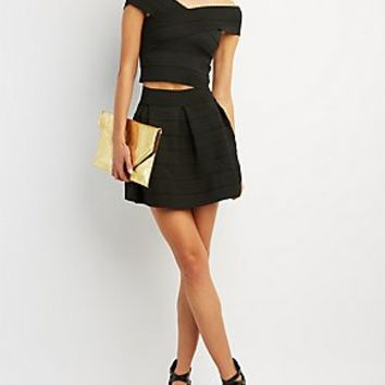 BANDAGE CROP TOP & SKATER SKIRT HOOK-UP
