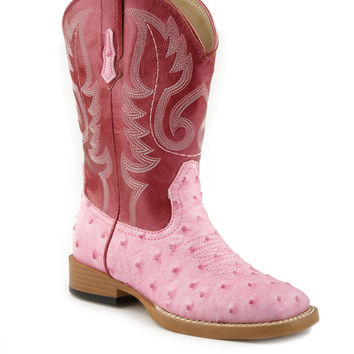 Roper Kids Boot Western Sqtoe Faux Leathr Sole Boots Sq Toe Boot With Pink Faux Leather