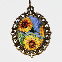 Monet Sunflower Necklace, Claude Monet, Sunflowers, Sunflower Jewelry, Oval Pendant