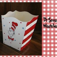 Dr. Seuss Cat in the Hat Hand Painted Wastebasket