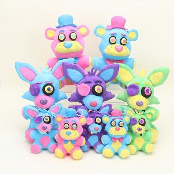 New 15/25cm  plush dolls  At Freddy blacklight Freddy Neon Foxy Neon Foxy blacklight Plush Doll soft Stuffed Toy