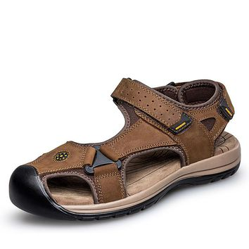 28-65 Plus Size Men Sandals Nice Summer Leather Sandals Men High Quality