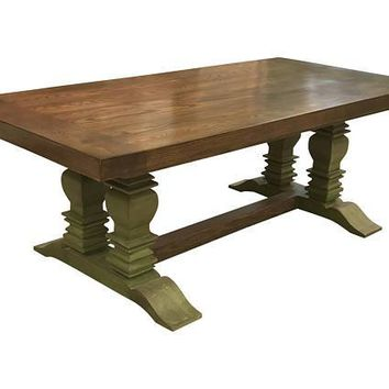 Double Pedestal Rectangle Berkley Farmhouse Table