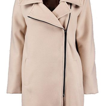 Stacey Zip Detail Wool Look Coat | Boohoo