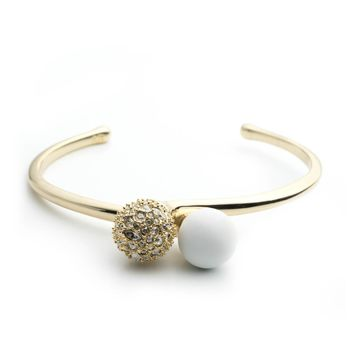 Crystal Encrusted with Matte White Accent Interlocking Sphere Cuff Bracelet | Alexis Bittar