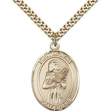 "Saint Agatha Medal For Men - Gold Filled Necklace On 24"" Chain - 30 Day Money... 617759595048"