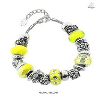 Divine Elegance Charmed Murano Bead Bracelet Floral Collection Made with Swarovski Elements - Assorted Colors