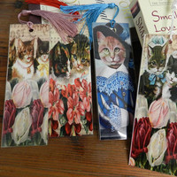 Cat Bookmarks Cat Lover Gift Laminated Cat Bookmarks Set Four Kitten Bookmarks