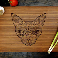 Sugar Skull Cat Cutting Board (Pictured in Amber), approx. 12 x 16 inches, laser engraved, bamboo wood, Wedding or Anniversary gift