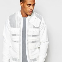 ASOS Mesh Bomber Jacket in White