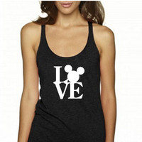Love Disney Mickey Mouse Minnie Mouse Racerback Tank Top (Multi Color Choices) Womens T-Shirt