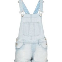 Teens Light Blue Bleach Wash Denim Short Dungarees