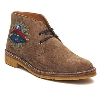 Gucci Men's Suede Embroidered Boot Shoes Brown