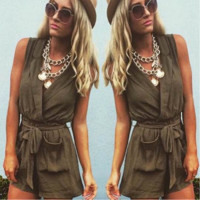 Sexy v-neck lace-up sleeveless jumpsuits