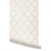 Moroccan Beige Peel & Stick Fabric Wallpaper Repositionable