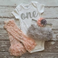 Baby Girl Baby Girl 1st Birthday Outfit Photography Props Silver One Onesuit Grey Bloomers Peach Gold Cake Smash Outfit Leg warmers