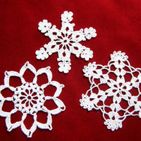 Crochet Snowflakes Set of 3, Christmas Decoration
