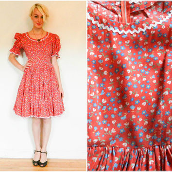 40s 50s vintage dress / Square dancing dress / full skirt full sleeves / ric rac short sleeves /  rockabilly retro size medium m Large L