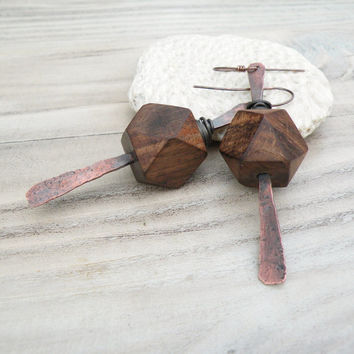 Rustic Wood Earrings, Long Hammered Copper Dangles, Neutral, Modern Tribal