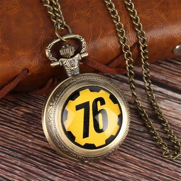 New Theme Survive in FALLOUT 76 the End of FALLOUT 4 Quartz Pocket Watch with Necklace Chain Retro for Children Unique Gifts