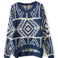 VOBAGA Women's Long Sleeve Geometric Pullovers Sweater Blue