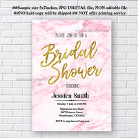 Pink Marble Invitation, Bridal Shower OR Baby Shower OR any party invitation, wedding invitation,  modern marble design - card 1190