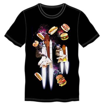 Celebration Sloth Space Shuttle Firework Party With Hamburgers & Hotdogs Men's Black T-Shirt Tee Shirt
