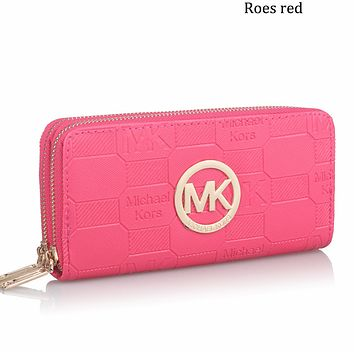 MK 2018 new men's and women's clutch bag multi-card position coin purse double zipper wallet F0594-1 Rose red