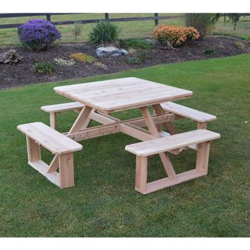 "A & L FURNITURE CO. Western Red Cedar 44""  Square Walk-In Table- Specify for FREE 2"" Umbrella Hole  - Ships FREE in 5-7 Business days"