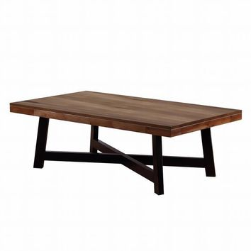 Wooden Coffee Table With Metal Base, Ash Brown And Black - 705498