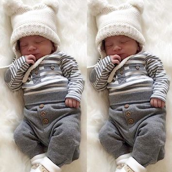 2019 Infant Baby Boy Girl Christmas Long Sleeve Round Collar Cute Striped Top T Shirt Pants Outfit Set Clothes 2Pcs