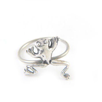 Frog Antiqued Silver Handmade Ring