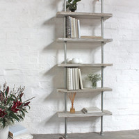 Robyn Adjustable Reclaimed white-washed Scaffolding Boards and Galvanised Steel Pipe Shelves/Bookcase - Bespoke Industrial Shelving System