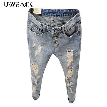 Uwback 2017 New Brand Summer Style Women Jeans ripped Holes Harem Pants Jeans Slim  vintage boyfriend jeans for women TB493