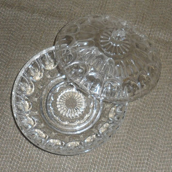 1940s to 1950s DOMED GLASS CANDY Dish / Round Glass Covered Candy Dish / Thumbprint Design / Art Deco Styled Domed Candy Dish /