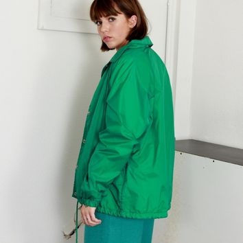 70s Kelly Green Nylon Jacket / L XL