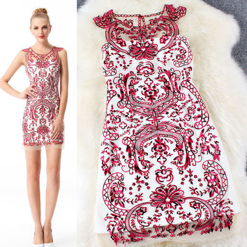 Red Sheer Embroidered Vintage Print Bodycon Mini Dress