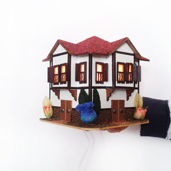 Miniature house Bedside lamp Wooden miniature Wooden decor Home decor Wooden house Decorative lamp Wooden home decor Unique gift ideas