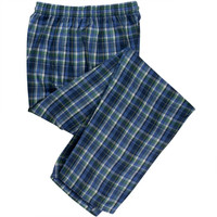 Blue and Green Flannel Men's Pajama Pants