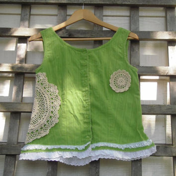 Eco Chic Pixie Green Shirt Vest / Upcycled Vest with Vintage Lace & Doilies