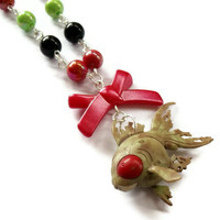 Zombie Necklace Goldfish Creepy Fish by KitschBitchJewellery