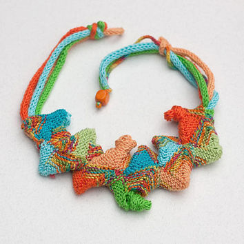 Colorful geometric bib necklace, knitted fiber art statement cotton jewelry, OOAK