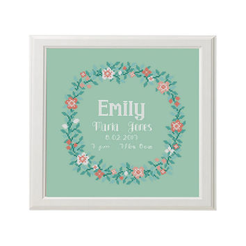 birth announcement round Cross Stitch pattern, custom name and date, floral border, baby gift, ring bearer, birthday gift