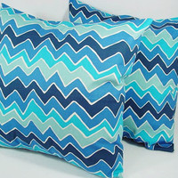 Two Blue Decorative Throw Pillow Covers Chevron Pillows - 18 x 18 inches Couch Pillow Accent Pillow