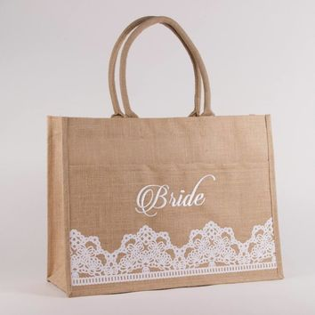 Bride Lacey Jute Pocket Tote  | Monogrammed Large Utility Tote | Beach Bag | Personalized Beach Tote | Embroidered Beach Bag