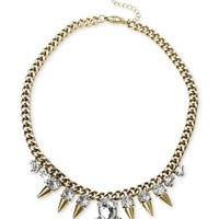 Steve Madden Necklace, Gold-Tone Crystal and Spike Frontal Necklace