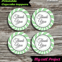 """Thank you - Cupcake toppers - Green Celadon - Instant Download - Party printable - Party favor - Candy Bar - 5 cm / 2"""""""