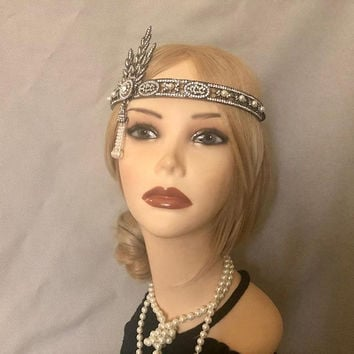 The Great Gatsby Replica 1920's inspired BLACK Rhinestone costume 20s flapper headband art deco 1920 Pewter headpiece bridesmaid (939)