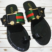 GUCCI tide brand female models simple fashion wild beach sandals Black